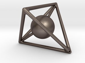 Light Tetra with Sphere inside in Polished Bronzed Silver Steel