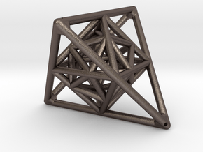 Tetrahedron with Octahedron and Icosahedron in Polished Bronzed Silver Steel