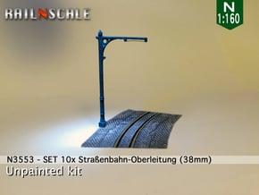SET 10x Straßenbahn-Oberleitung 38mm (N 1:160) in White Natural Versatile Plastic