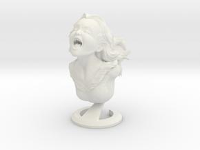 """Joyful Yell"" bust in White Natural Versatile Plastic"
