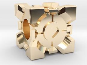 Companion Cube Bead in 14K Yellow Gold