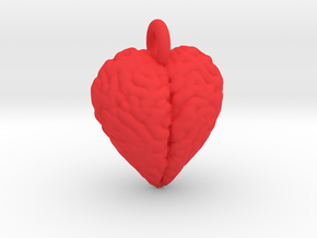 Brain Heart pendant / earring in Red Processed Versatile Plastic