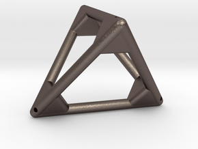 Small Tetra (big reinf.) in Polished Bronzed Silver Steel