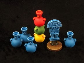 Mayan tech/temple & score tokens (8 pcs) in Blue Processed Versatile Plastic