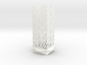 Lamp Square Column - Undulation Design (ripples) in White Processed Versatile Plastic