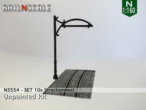 Einfachfahrleitung - SET 10x Streckenmast N 1:160 in White Natural Versatile Plastic