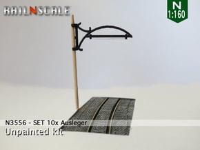 Einfachfahrleitung - SET 10x Ausleger (N 1:160) in White Natural Versatile Plastic