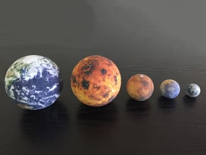 Mercury, Venus, Earth, Moon & Mars to scale in Full Color Sandstone