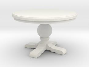1:24 Round trestle table in White Natural Versatile Plastic