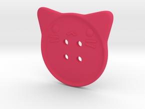 Cat Button in Pink Processed Versatile Plastic