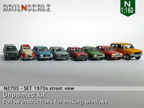 SET 1970s street view (N 1:160) in Smooth Fine Detail Plastic