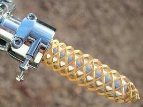 Trellis Throttle Grip in Polished Bronzed Silver Steel
