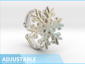 Snowflake Ring 1 d=16.5mm Adjustable h35d165a in Rhodium Plated Brass