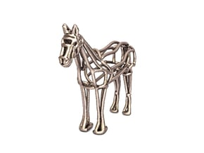 Horse Wireframe keychain in Polished Bronzed Silver Steel