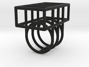 Space Ring: Square in Black Natural Versatile Plastic: Medium