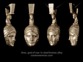 Steel Ares, god of war pendant (facing forward) in Polished Bronzed Silver Steel