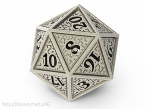 Hedron D20 (Hollow), balanced gaming die in Polished Bronzed Silver Steel