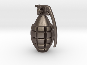 Keychain Grenade  solid &    25mm hight in Polished Bronzed Silver Steel