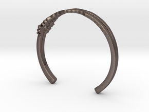 I Love You Sound Wave | Wrist Cuff in Polished Bronzed Silver Steel: Small