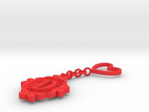 D Keychain Art Nouveau  in Red Processed Versatile Plastic