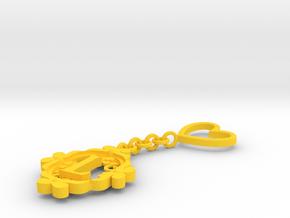 L Keychain Art Nouveau in Yellow Processed Versatile Plastic
