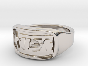 Ring USA 57mm in Rhodium Plated Brass