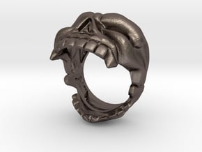 Reaper Skull bottle opener ring size 8 in Polished Bronzed Silver Steel