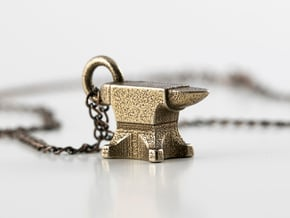 Anvil Necklace in Polished Bronzed Silver Steel