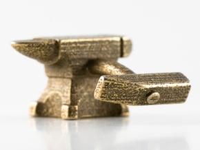 Anvil Cufflinks in Polished Bronzed Silver Steel