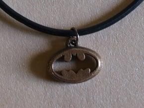 Batman Pendant in Polished Bronzed Silver Steel