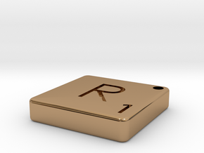 """""""R"""" Tile in Polished Brass"""