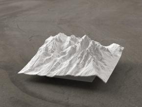 4'' Grand Tetons Terrain Model, Wyoming, USA in White Natural Versatile Plastic