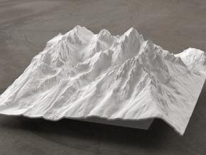 6'' Grand Tetons Terrain Model, Wyoming, USA in White Natural Versatile Plastic