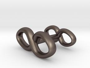 Infinity Symbol Cufflink in Polished Bronzed Silver Steel