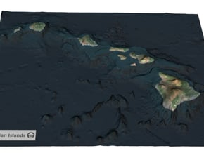 Hawaiian Islands Map in Full Color Sandstone