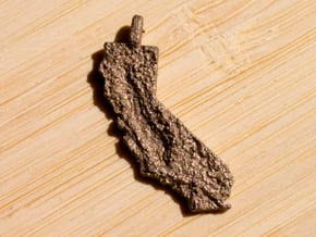 California Topography Pendant in Polished Bronzed Silver Steel
