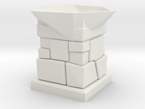D20 Die Holder (Stone Tower) in White Natural Versatile Plastic