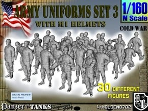 1-160 Army Modern Uniforms Set3 in Smooth Fine Detail Plastic