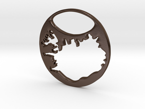 Key ring - Iceland in Polished Bronze Steel