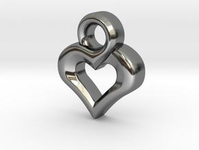Heart Pendant in Fine Detail Polished Silver
