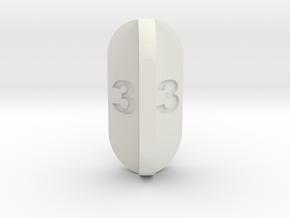 Radial Fin Dice in White Natural Versatile Plastic: d3