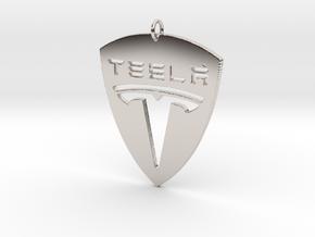 Tesla Pendant in Rhodium Plated Brass