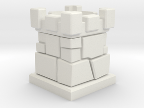 D6 Die Holder (Stone Tower) in White Natural Versatile Plastic