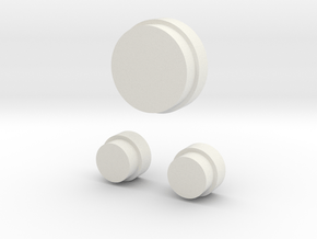 flat top buttons in White Natural Versatile Plastic