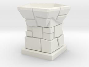D12 Die Holder (Stone Tower) in White Natural Versatile Plastic