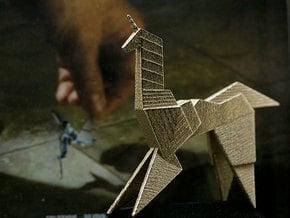 Gaff's Unicorn | Blade Runner Origami in Polished Bronzed Silver Steel