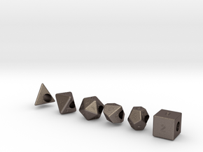 """""""Geek Beads"""" Full set of dice in Polished Bronzed Silver Steel"""