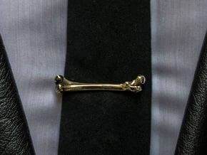 Bone Tie Clip in Polished Brass