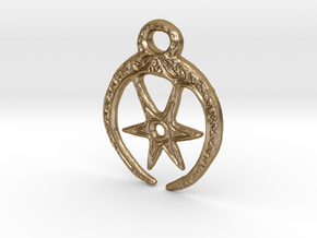 Roman Moon & Star Pendant (large version) in Polished Gold Steel