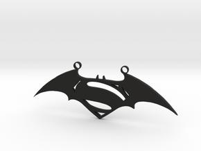 Batman and Superman Pendant in Black Natural Versatile Plastic